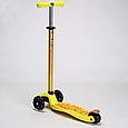 Трехколесный самокат SCOOTER MICMAX Deluxe с прорезиненной платформой и со светящимися колесами, Желтый, фото 4