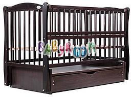 Кровать Дубок Еліт резьба маятник, ящик, откидной бок DER-7 бук венге
