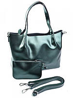 Женская сумка тоут из кожи жемчужно-зеленая B-041-1G