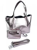 Женская сумка тоут из кожи жемчужно-розовая B-041-1G