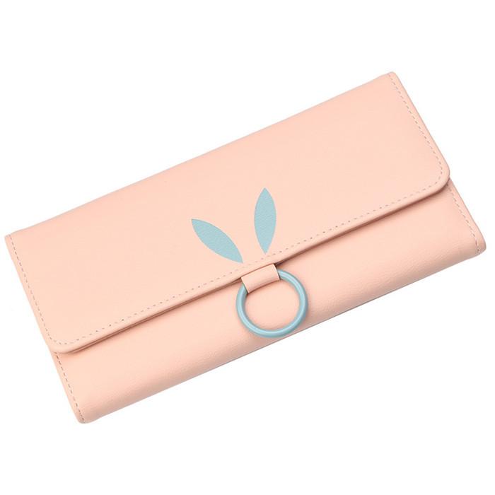 Женский кошелек BAELLERRY Korean Style Long кожаное портмоне на кнопке Розовый (SUN1137)