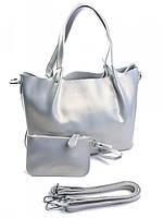 Женская сумка тоут из кожи жемчужно-серая B-041-1G
