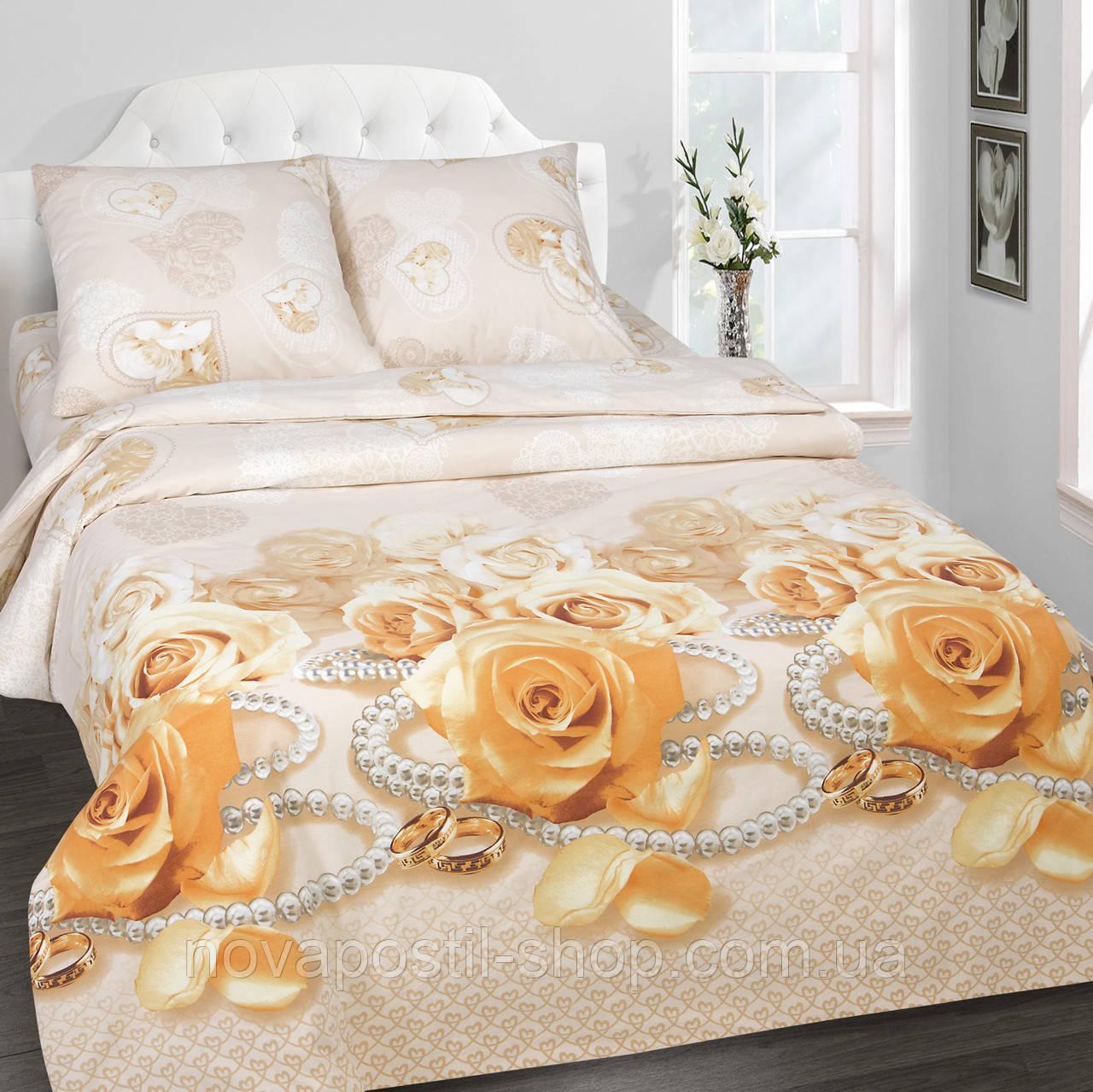 Постельное белье поплин, Комплект Идиллия (с розами и жемчугом)