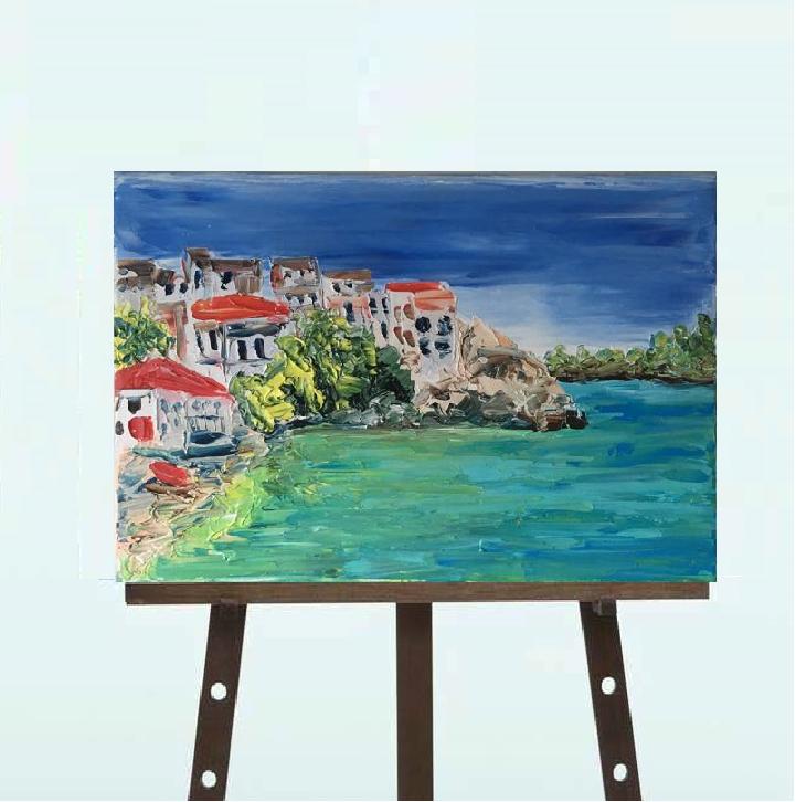 """Картина, """"Средиземное море"""",масло,20*30"""