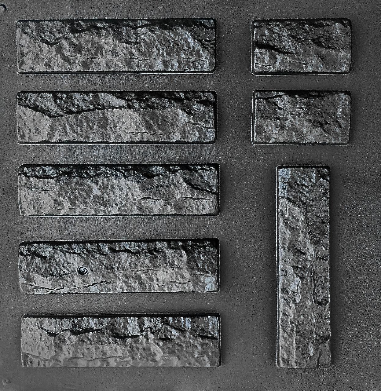 """Комплект """"Рваный кирпич"""" - 3 формы для гипсового кирпича: 25х6,5 см. 1 м² = 61,5 шт."""