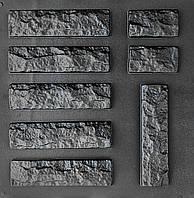 "Комплект ""Рваный кирпич"" - 3 формы для гипсового кирпича: 25х6,5 см. 1 м² = 61,5 шт., фото 1"