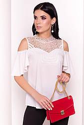 Женская летняя блузка молочного цвета с кружевом. Модель 36313