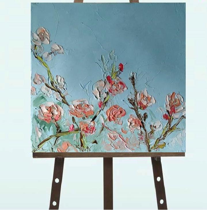 """Картина """"Чайные Розы"""", масло, 20*20"""