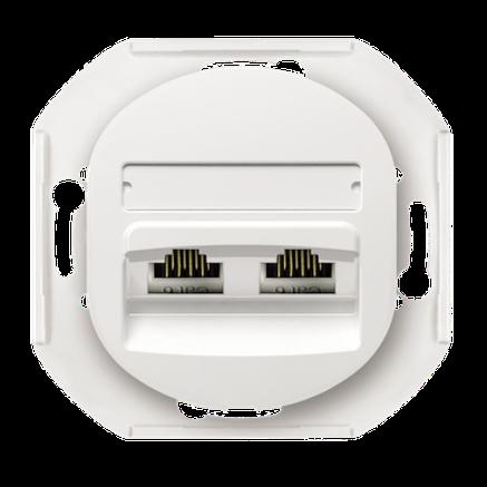 Розетка компьютерная на два поста белая Eon, фото 2