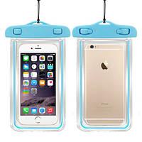 Водонепроницаемый чехол для смартфона Aqualight светящийся синий, фото 1