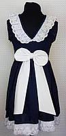 Школьное платье Мери темно-синее 116,122,128см хлопок маломерят