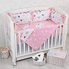 """Дитяче ліжко з шістьма бортиками-подушками 33*60 см і простирадлом """"Пудрові корони"""", фото 2"""