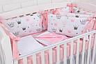 """Дитяче ліжко з шістьма бортиками-подушками 33*60 см і простирадлом """"Пудрові корони"""", фото 3"""