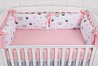 """Дитяче ліжко з шістьма бортиками-подушками 33*60 см і простирадлом """"Пудрові корони"""", фото 4"""