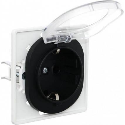 Розетка одинарная с заземлением и крышкой черная Eon, фото 2