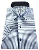 Мужская рубашка классическая с коротким рукавом в клетку №10-26 - 7247 V1