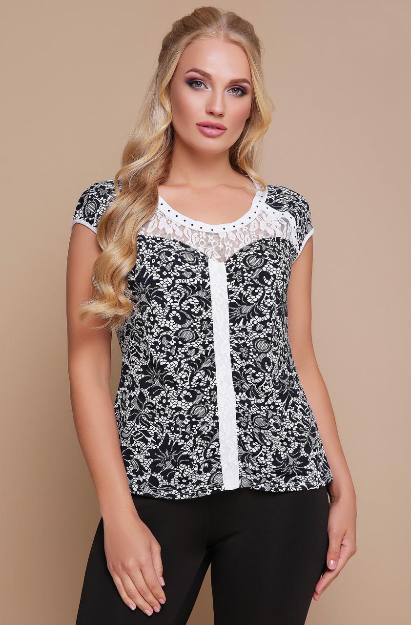 f23cef58595ce00 Блуза с гипюром женская нарядная блуза с кружевом трикотажная летняя  больших размеров