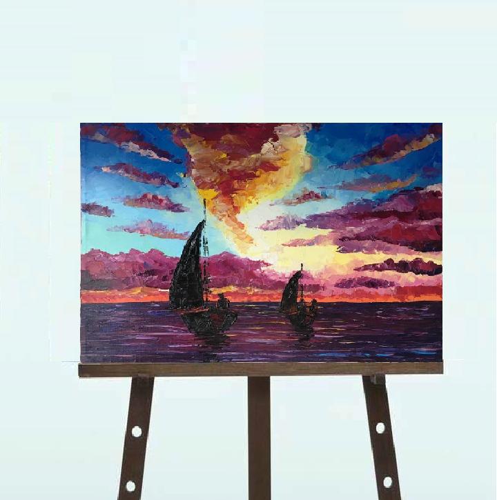 """Картина """"Закат над морем"""", масло, 40*50"""