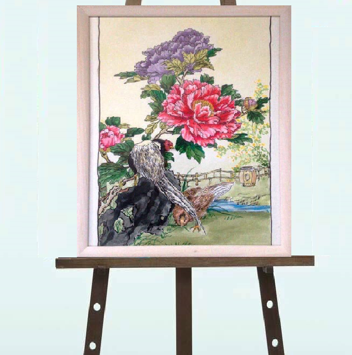 """Картина копия японской гравюры """"Пионы"""", тушь, 30*40"""