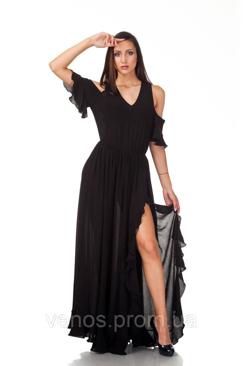 Женское черное платье в пол. П123