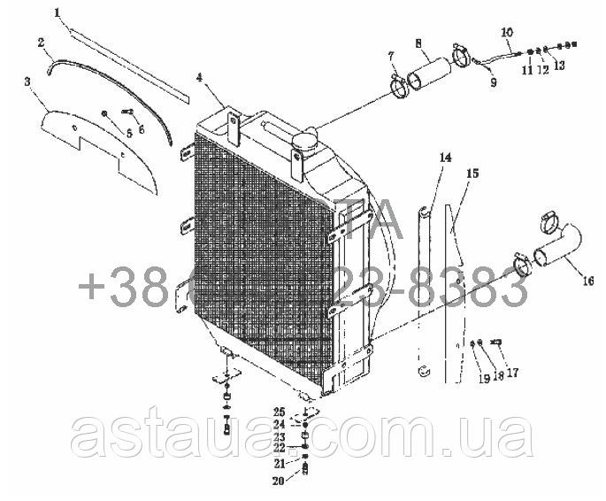 Радиатор в сборе на YTO-X904