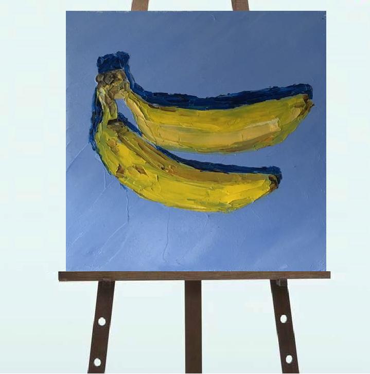 """Картина """"Бананы"""",масло, 20*20"""