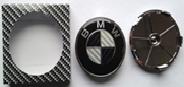 Комплект колпачков в колесные диски BMW карбон 68,5 мм/ 66 мм