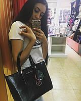 Кожаная сумка МК в черном цвете , сумка кожа