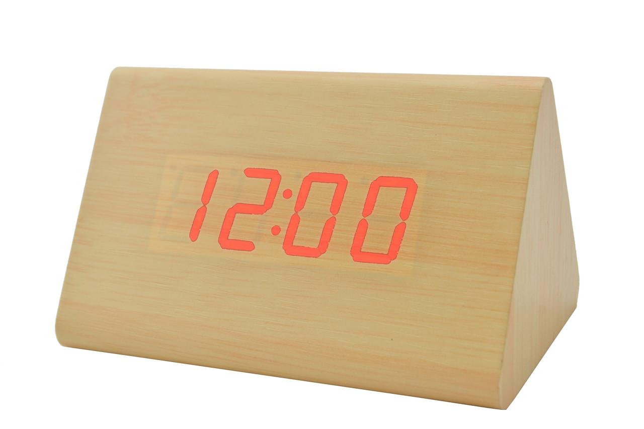 Часы VST 864 светлое дерево (красная подсветка) (3790)