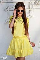 Красивое платье на лето мини талия на резинке с пышной юбкой рюши цвет насыщенный желтый