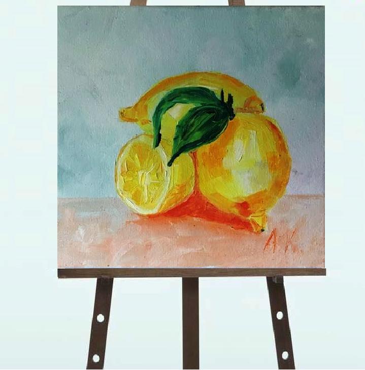 """Картина """"Лимоны"""", масло, 20*20"""