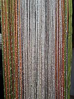 Шторы-нити люрекс радуга 3мх3м салатовый с оранжевым
