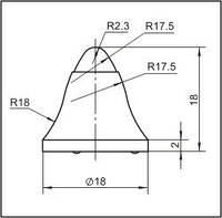 Вставки для фрез дорожно-фрезерных машин и бурового инструмента  18E1-02