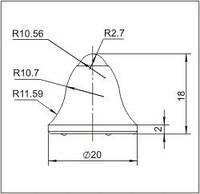 Вставки для фрез дорожно-фрезерных машин и бурового инструмента  20FE-03