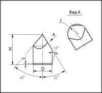Шлифованные зубья для армирования буровых долот, форма Г23, D=10.14-0.027