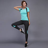 Костюм спортивный  женский для фитнеса, спорта, бега, йоги. Размер S (бирюзовый), фото 1