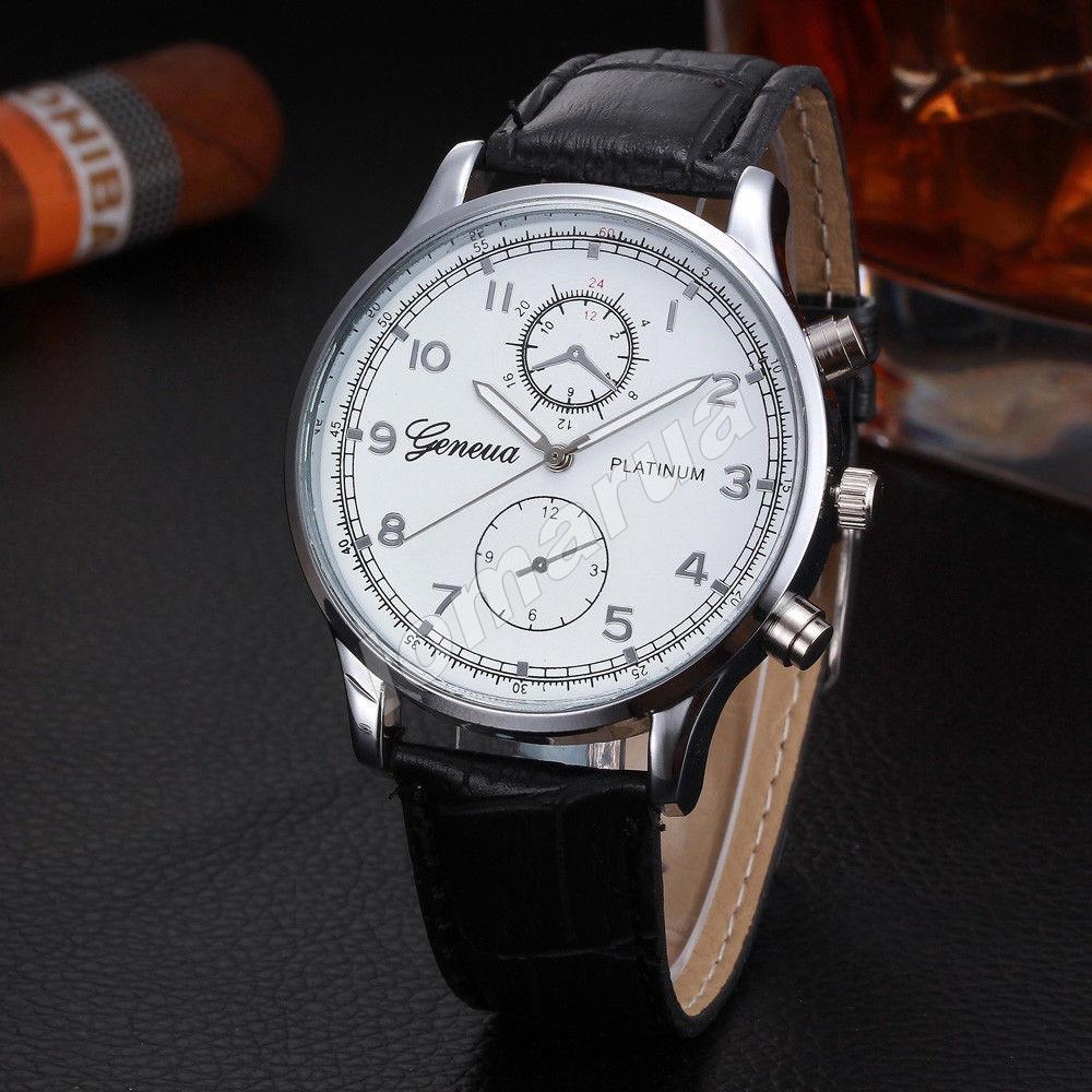 Мужские кварцевые часы Geneva Plainum Silver
