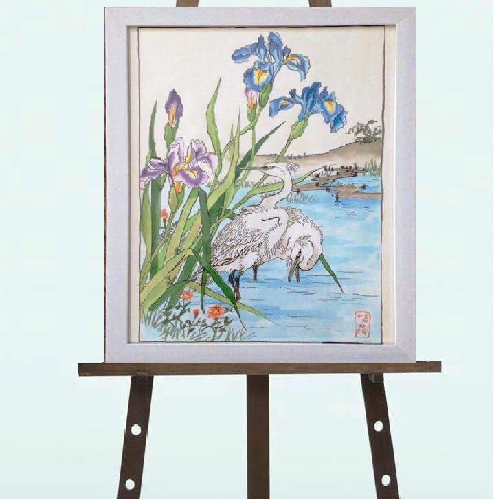 """Картина """"Ирисы"""", копия японской гравюры,30*40"""
