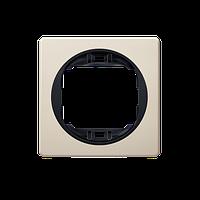 Рамка одинарная 80*80мм цвет кремовый с черной вставкой для фурнитуры Eon