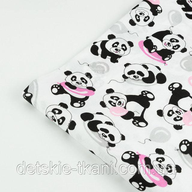 """Лоскут ткани №1399а """"Панды с розовыми шариками"""" на белом"""