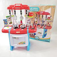 Детская игрушечная кухня со звуком, плита для девочки 2 конфорки Interest Kitchen красная