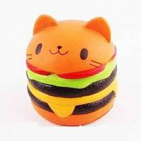 Сквиши SQUISHY кот гамбургер Сквиш Антистресс игрушка ароматная большая