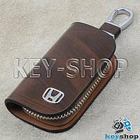 Ключница карманная (кожаная, коричневая, с узором, на молнии, с карабином, с кольцом) лого авто Honda (Хонда)