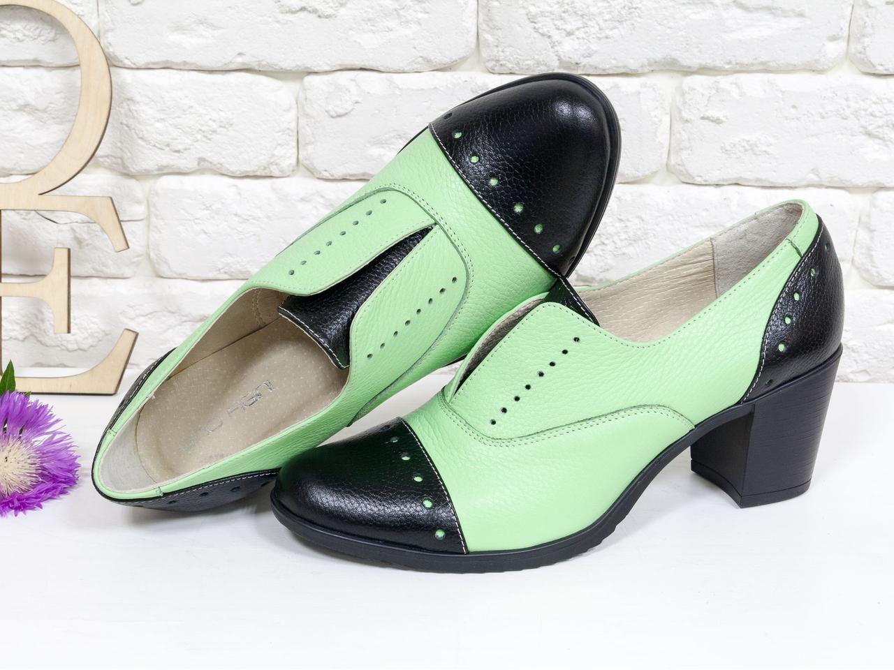 Туфлі броги жіночі на стійкому каблуці з натуральної шкіри. Розмір 36-41