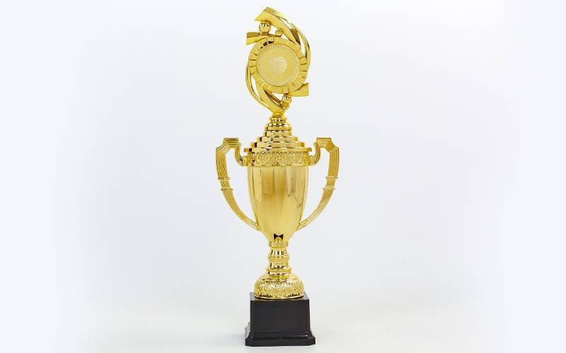 Кубок спортивный с ручками, крышкой и местом под жетон h-42см DS897C (h-42см, d чаши-15см, золото)