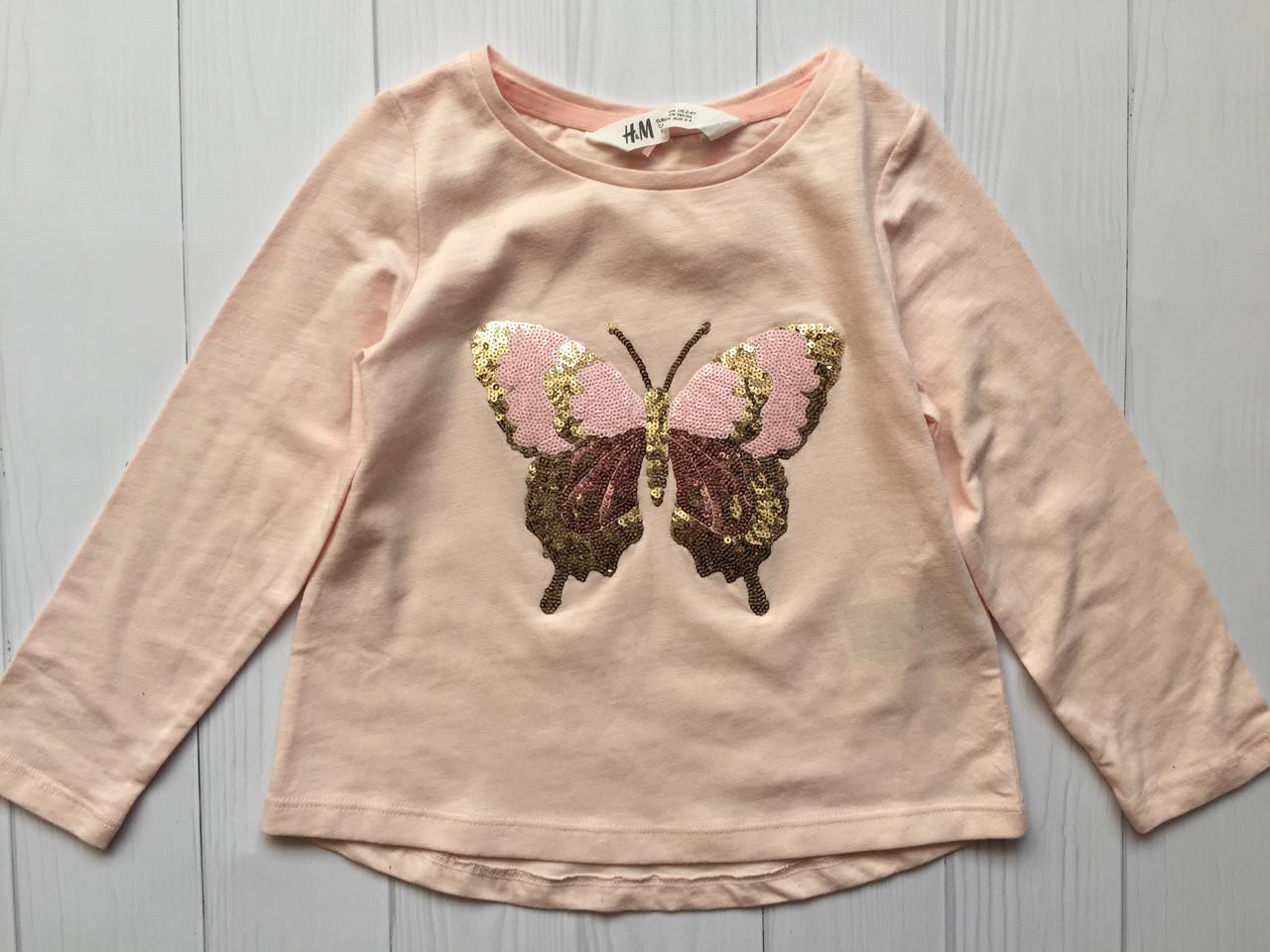 Красивый розовый реглан с пайетками на девочку 2-4 года H&M Швеция Размер 98-104
