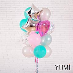 Стильный букет из 20 воздушных шаров с гелием для девушки