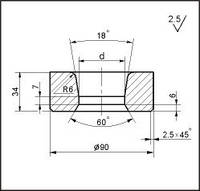 Заготовки для волочения проволоки и прутков круглого сечения, форма 20, d=45.5