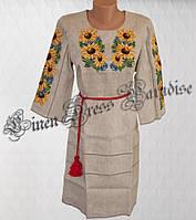 Вышитое платье с подсолнухами из натурального льна (размер 44UA RU). Модель