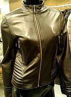 Куртка кожаная укороченная женская, бронзовая, фото 1